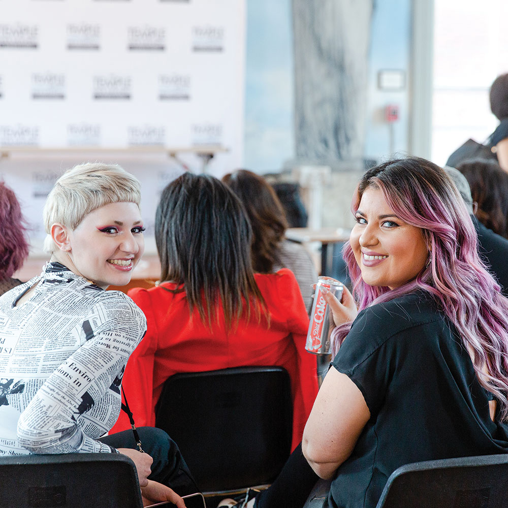 Studens smiling at a Hairdusty and Presley Poe Seminar - DC Event Video and Photography